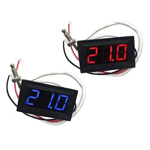 MagiDeal 2pcs (Rot/Blau) LED Autothermometer Innen/Außen DC 12V Auto KFZ Thermometer Digital Thermometer Panel-Meter -30 bis +800 °C
