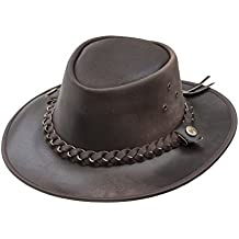 Brown Leather Bush Hat from Wombat Leather Hats - Style Outback, Brown, Medium