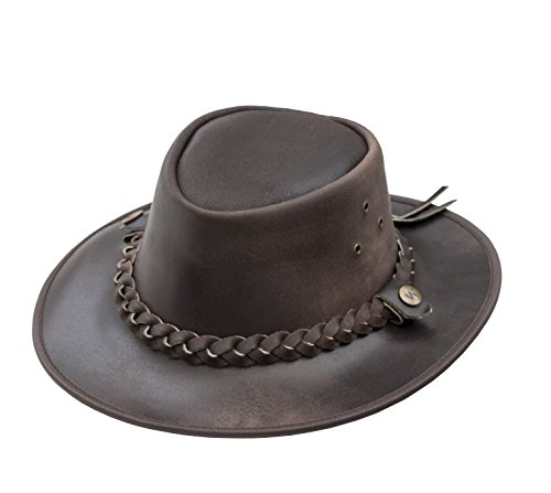 b934c1bdf77 Brown Leather Bush Hat from Wombat Leather Hats - Style Outback - SMALL -  Buy Online in Oman.