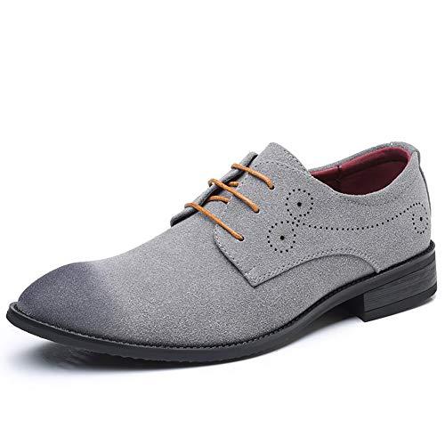 TAZAN Schnürhalbschuhe Herren Derby Uniform Wildleder Oxfords Modische Anzug Schuhe Lace Ups Herren Business Schuhe Geringe Hilfe Atmungsaktiv Und Verschleißfest Hochzeit Schuhe,Gray,39 -
