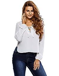 EOZY Femme Tops Col V Lacet Manche Longue Blouse Shirt Décontracté Blanc