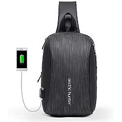 Mochila de Hombro Bolso de Hombro Impermeable Crossbody Bolsos Cruzados con Bolsa Aislante con Cargador USB Bolsa Ciclismo Senderismo Cebra Gris