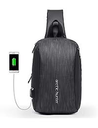 Mochila de Hombro Bolso de Hombro Impermeable Crossbody Bolsos Cruzados con Bolsa Aislante con Cargador USB