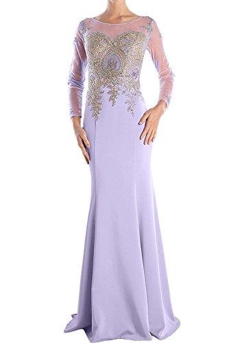 Sunvary Elegant Damen Rund Schwarz Langarm Applikation Meerjungfrau Abendkleider Lang Partykleider Promkleider Mutterkleider Lilac