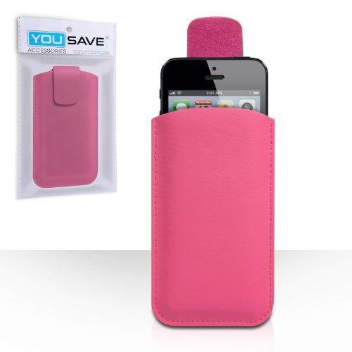 Coque iPhone 5C Etui Rose Chaud Lychee Cuir Pochette Housse