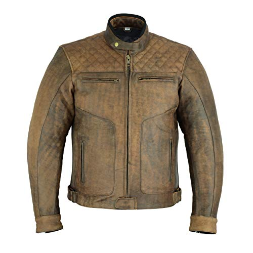 Texpeed Diamond Brown Stitched Leather Jacket - 2XL