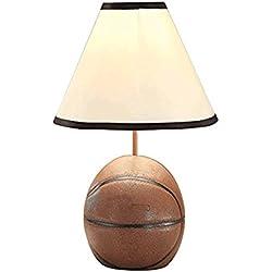 QINAIDI Traditional Resin Basketball Table Lamp Rural Mediterranean Cloth Shade Luces De La Mesa De Noche Living Room Study Dormitorio Luz Para Niños