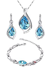 Mahi Valentine Collection Rhodium Plated Combo Of Magnificent Crystal Pendant Set And Bracelet For Girls And Women...