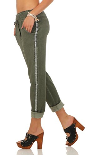 230 Damen Hose Freizeithose Jogginghose Sportswear Style Stoffhose Baumwollhose Sweatpants Boyfriend mit Seitlichen Glitzerstreifen Oliv