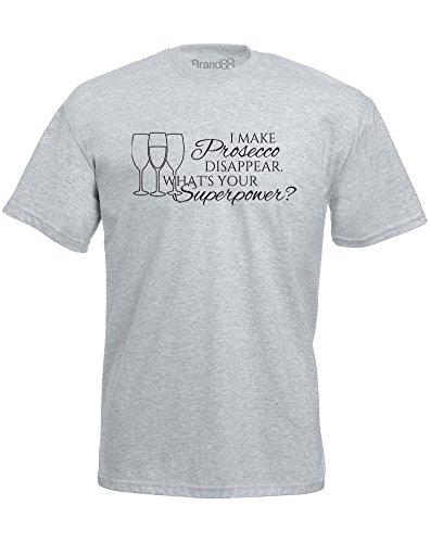 Brand88 - What's Your Superpower?, Mann Gedruckt T-Shirt Grau/Schwarz