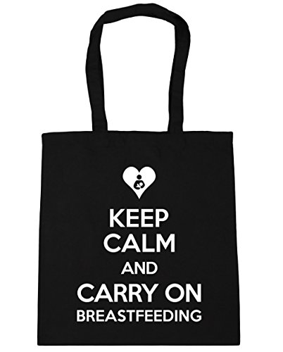 HippoWarehouse Keep Calm and Carry On Breastfeeding Tote Shopping Gym Beach Bag 42cm x38cm, 10 litres