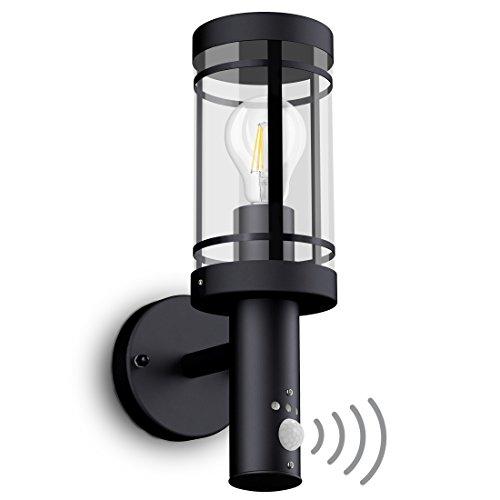 SSC-LUXon LED Wandleuchte MOVI - Laterne mit Bewegungsmelder für Außen IP44 in schwarz inkl. OSRAM LED Birne E27 6W warmweiß