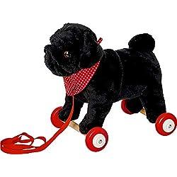 Lustige Tierparade Spiegelburg Pug Carlino Perrito Negro de Peluche para Abrazar con Ruedas de Madera para Arrastrar 24cm