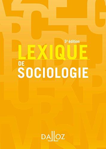 Lexique de sociologie - 5e d.