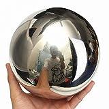 Yunhigh Bola de Espejo de Bola de Acero Inoxidable Esfera Bola de Metal Decorativa Mesa de Bola de Oro Ornamento de jardín de hogar Regalo de Navidad, 20 cm