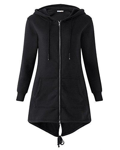 Kidsform Damen Hoodie Langarm Pullover Kapuzenpulli Outwear Kapuzenjacke Sweatshirt Jacken Schwarz EU 40-42/Etikettgröße L - Mantel Damen Pullover