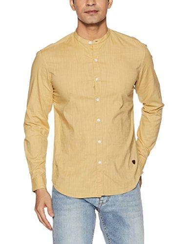 John Players Men's Solid Slim Fit Cotton Casual Shirt (ZCMWSHA170027002_Khaki_39)
