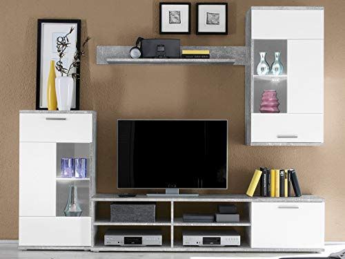 möbelando Wohnwand Mediawand Schrankwand Wohnzimmerschrank Schrank Anbauwand Kenton I Beton/Weiß