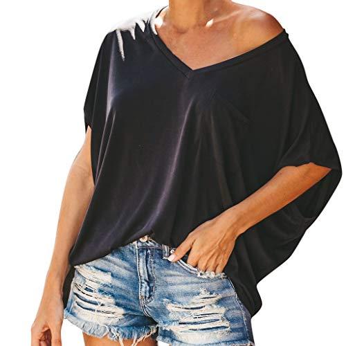 Oyedens Tshirt Damen Weiss, Fashion T-Shirt Damen V-Ausschnitt Rundhals Kurzarm T-Shirt Freizeithemd mit Tasche Tshirt Damen Große Größen Sexy