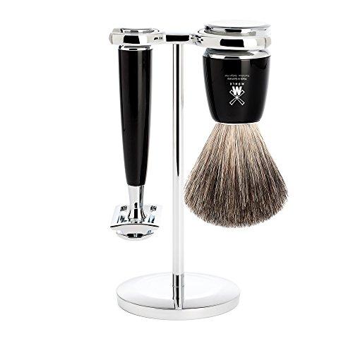 뮐레 클래식 면도기 세트 MÜHLE Rytmo Shaving Set Pure Badger Shaving Brush & Safety Razor Resin Black