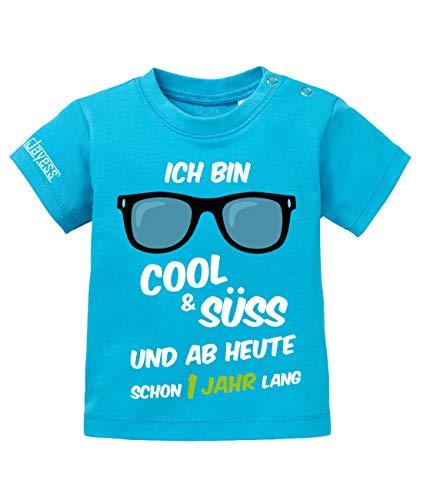 Jayess Baby Shirt Jungen zum 1 Geburtstag - ich Bin cool und süß und ab Heute Schon EIN Jahr lang - in Blau Gr. 80/86 (1. Jungen-geburtstag Shirt)