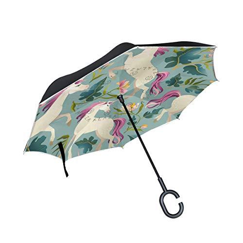 Ombrello inverso antivento per faro per auto Ombrellone per esterni Ombrello per esterno vintage foresta magica Leafunicorn con manico