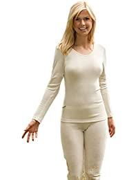 Engel camiseta térmica de manga larga para mujer 70% lana de merino orgánica/30% seda Mulberry