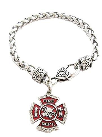 Fireman Firefighter Shield Fashion Lobster Claw Bracelet Jewelry Maltese Cross