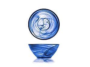 H&H Alabastro Set 6 Coppette Dessert, Vetro, Blu, 14 cm, Cobalto, 14x14x6 cm 6 unità