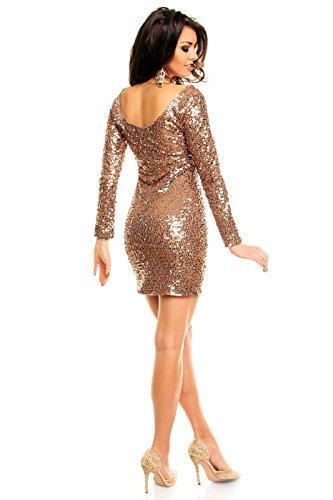 Paillettenkleid rückenfrei Cocktailkleid Abendkleid mit Pailletten bestickt gold braun XL - 4