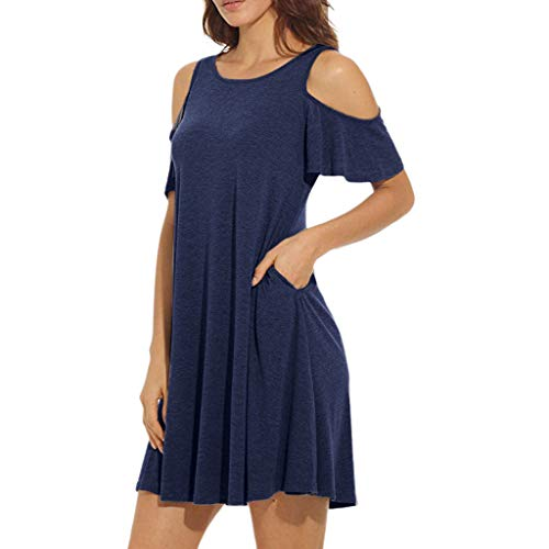 rauen Normallack-Mode Lean Schulterrock Damen Sommer Kalt Schulter Tunika Top Swing T-Shirt Loses Kleid Mit Taschen ()