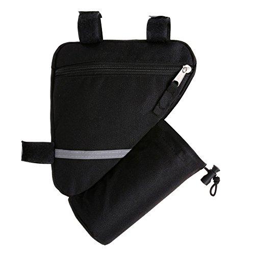 FULARR Fahrrad Dreieck Tasche, Fahrradrahmen Tasche Mit Wasser Flaschenhalter, Fahrrad Wasserdichte Werkzeugtasche. Doppelseitige Reflektierende Dekoration Macht Nachtfahrten Sicherer – Schwarz