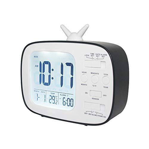 Womdee Kinder Wecker, Kinder niedlichen Cartoon TV Form LCD Digital Clock Timer, Datum Temperaturanzeige mit Snooze-Funktion, batteriebetrieben, Smart Backlight Clock für Schlafzimmer, Wohnzimmer Digital Lcd Tv