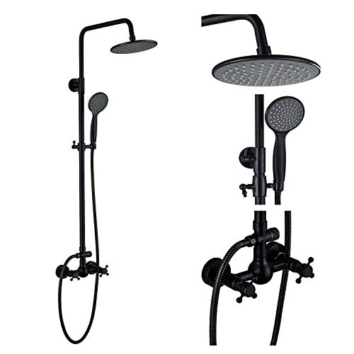 Öl Eingerieben Bronze Licht 6 (Wghz Öl eingerieben Bronze Badezimmer Dusche Wasserhahn 8 'Regenduschkopf mit Handheld Sprayer)