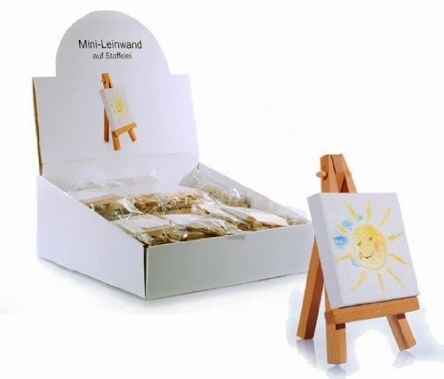 Mini-Leinwand auf Keilrahmen mit Staffelei aus Holz 10 Stück