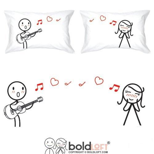 Irma00eve love me tender coppie federe per lui e per lei, chitarra musica decorativo tiro federa per cuscino, carino san valentino regali per lui lei, 50,8x 76,2cm (set da 2)