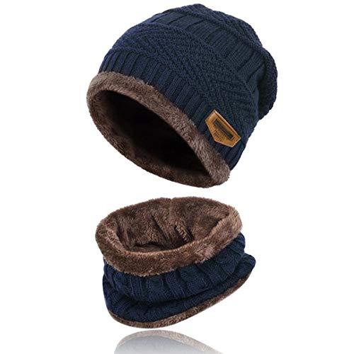 c83d02cf06995 Kata Winter Warm Beanie Hat Scarf Set Thick Skull Cap with Soft Fleece  Lining (Navy