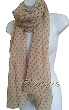 MYMUSU Spotty Scarf Spotted Polka Dots Fashion Ladies Wrap (Cream)