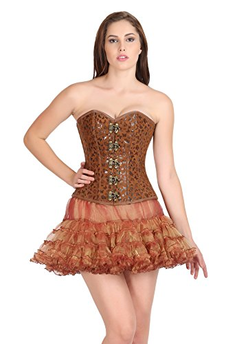 Butterfly Print Brown Leather Gothic Costume Waist Training Overbust Corset Top