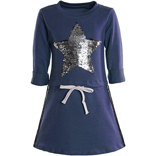 BEZLIT Mädchen Kleider Spitze Wende-Pailletten Fest Langarm Kleid 21041, Farbe:Blau;Größe:92