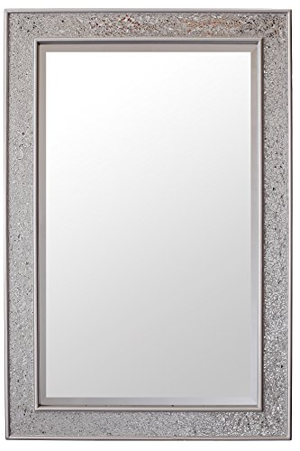 Mosaic Silver Wall Mirror - Large - 90x60 cm (2x3 ft) - Bathroom Lounge Hallway