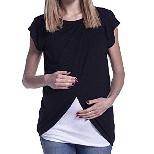 Logobeing Ropa Premamá Camisetas Abrigo de Lactancia de Maternidad Para Mujeres Doble...