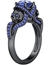 Silvernshine 1.52Ct Tanzanite CZ Engagement & Wedding Two Skull Desing Ring 14K Black Gold Plated