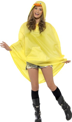 Smiffys, Unisex Enten Party Poncho Kostüm, Poncho mit Zugbeutel, One Size, 27613 (Dress Up Ideen Für Gruppen)