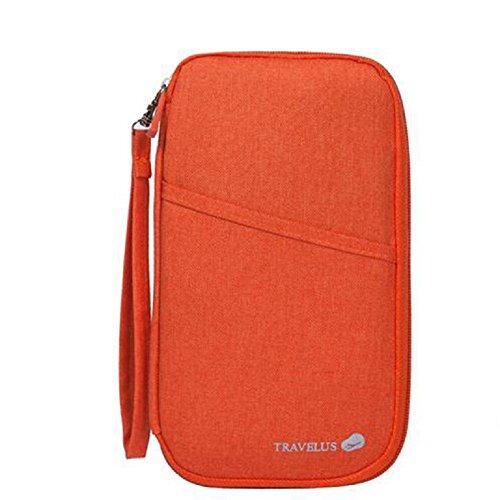 NOVAGO Reiseorganizer Dokumententasche Reisepasshüllen Wasserdicht Pass Brieftasche mit Handschlaufe Reißverschluss für Münzen, Stift, Kreditkarten, Flugkarten, Passport (Orange) (Mit Reißverschluss-kreditkarten-brieftasche)