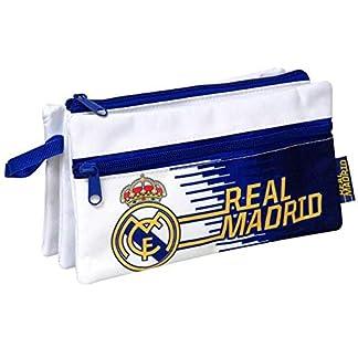 Real Madrid Estuche portatodo Triple con Bolsillo 22cm