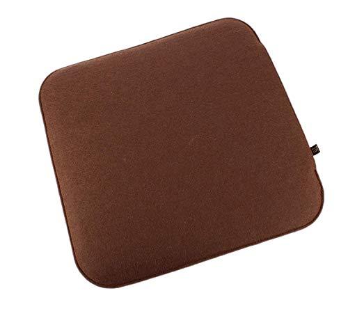 6er Set Filz Sitzkissen in braun und cremeweiß zum Wenden, waschbare Stuhlauflage mit Füllung inkl. Reissverschluss. Moderne Sitzauflage für Bank und Stuhl mit runden Ecken, weich gepolstert. Designer Sitzpolster / Filzauflage, quadratisch ca. 35x35cm groß -