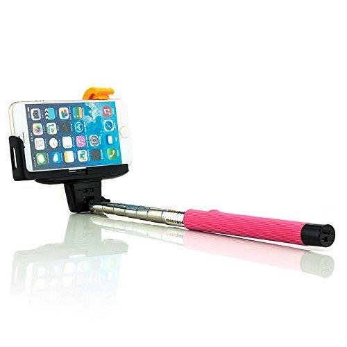 Bluetooth Selfie Stick Bastoni [Saxonia] Pink | Universale Monopiede Smartphone Telecomando / Scatto Remoto Wireless con Asta Estendibile