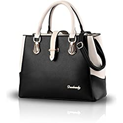 Nicole&Doris 2017 neue schwarze und weiße Mode-Stil Handtasche lässig Umhängetasche Querkörperarbeit Taschengeldbeutel für Damen(Black)