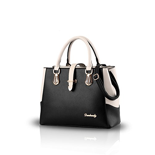 Nicole&Doris 2017 neue schwarze und weiße Mode-Stil Handtasche lässig Umhängetasche Querkörperarbeit Taschengeldbeutel für Damen(Black) (Neue Tasche Damen Mode)